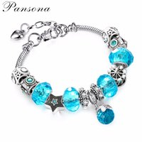 Wholesale Vintage Sterling Silver Chains - Vintage Silver Charm Bangle & Bracelet with Ball Pendant & Colorful Crystal Bracelets for Women Pulseira Feminina AA194