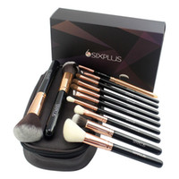 Wholesale Professional Coffee - 2018 New Arrivals Attractive Sixplus Coffee Color Luxury Style Makeup Brush 12pcs Professional Make Up Brush Set