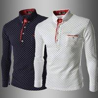 Wholesale Polka Dot Shirts For Men - Slim Fit Men Polka Dot Printed Casual Fashion Shirt Long Sleeves Homme Top Clothing For Autumn Spring