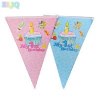 ingrosso torte di compleanno cartoni animati-2,2 m Il mio 1 ° compleanno Tema Banner Cartoon Bandiere di carta per bambini Decorazioni primo compleanno Baby Shower Party Supplies 7D