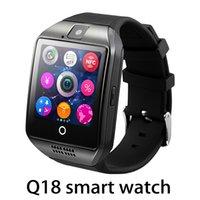 qualität gps uhr großhandel-Hochwertige Q18 Bluetooth Smart Watch Unterstützung SIM-Karte NFC-Verbindung Gesundheit Smartwatches für Android-Smartphone mit Rechteckpaket