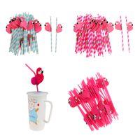 kokteyl partisi hediyeleri toptan satış-Yeni 25 adet Flamingo Çizgili Payet Luau Plaj Tropikal Parti Barware Favor Xman Kokteyl Düğün Parti Malzemeleri Dekor Hediye Acces