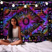 ingrosso arazzo muro viola-Yoga Mat Purple Sun and Moon Printed Decorative Tapestry Wall Hanging Indian Hippie Arazzo Coperta 148X200cm