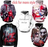 Wholesale Clown Clothes - New Fashion Couples Men Women Unisex Clothes Joker Suicide Squad Clown 3D Print Hoodies Sweater Sweatshirt Jackets Pullover Top TT251