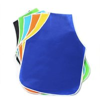 Wholesale Children Art Smock - 10pcs Unisex Children Kid Non -Woven Fabrics Waterproof Sleeveless Diy Painting Drawing Art Craft Smock Eating Apron Random Color