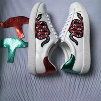 Wholesale White Embroidered Flower Appliques - New Genuine leather Flats Designer sneakers men women Classic Casual Shoes python tiger bee Flower Embroidered Cock Love sneakers size 36-44