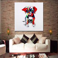 cuchillo de pintura al óleo al por mayor-Grandes hechos a mano del perro del perro Animal Pictures Modern Home Decor pintura de pared Artes pintado a mano de dibujos animados pinturas al óleo sobre lienzo de regalo