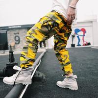 pantalones cargo morado para hombres al por mayor-Envío de la gota Pantalones deportivos Camuflaje amarillo 8 Color Punk Pantalones cargo de los hombres Multy Purple Camo Hip Hop Hombres Safari Jogger S-3XL