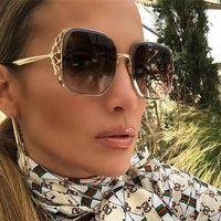 große quadratische brillenrahmen großhandel-Steampunk Square Sonnenbrille für Frauen Markendesigner Strass Kristall Krone Big Frame Sonnenbrille Weibliche Mode Shades Eyewear Lady