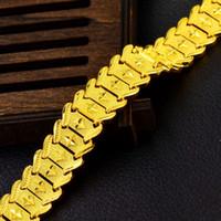 ingrosso braccialetti di fascia gialla-Bracciale da 13 mm, bracciale da uomo, bracciale in oro giallo, bracciale stile celebrity