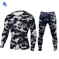 Wholesale mens grey skinny suit - 2018 Quick Dry Comouflage Mens Running Sets 2pcs set Compression Sports Suits Skinny Tights Clothes Gym Fitness Camo Sportswear