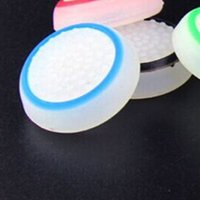 Wholesale xbox one caps - 50pcs Lot White with Blue Color ThumbStick Joystick Analog Grip TPU Cover Caps for PS4 PS3 Xbox 360 Xbox one Controller