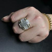 anéis da cruz do ouro dos homens venda por atacado-New Mens Hip Hop Anéis Jóias Banhado A Ouro Strass Cruz Anéis de Moda Stainles Anéis De Aço Para Homens