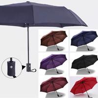 tam kaburga toptan satış-8 Kaburga Tam Otomatik Rüzgar Geçirmez Şemsiye 3 Katlı Kompakt Katlanır Seyahat Golf Şemsiye Güneşli Ve Yağmurlu Için WX9-693