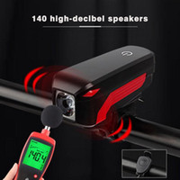 Wholesale touch bell for sale - Super Bright Bicycle Headlight USB Rechargeable Waterproof LED Bike Light Touch Switch Light With Tones Alarm Bell Horn New Y1892709