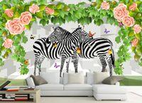 mural clásico rosa al por mayor-papel pintado clásico para paredes 3D Rose Flower Rose sólido estilo idílico fondo pintura de pared murales de pared animales