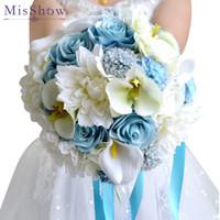 hermoso ramo de flores azules al por mayor-Hermoso azul blanco ramo de novia hecho a mano Artificial Lily Peony Flower buque casamento nupcial ramo para la decoración de la boda