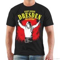 fanatiği engellemek toptan satış-T-Shirt Dresden Kniet Nieder Ihr Bauern Ultras Elbe Osten Blok Stadion Hayranları Baskı Rahat T Gömlek Erkekler 'S Tees