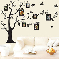Wholesale glasses photo frame - 50*70cm Tree of Life Wall Stickers with Photo Frame Wallpaper for Home Decor Kitchen Accessories Household Suppllies