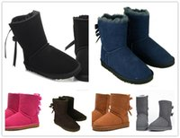 Wholesale thick heel tube - Top quality Free shipping 2017 new Australian snow boots thick leather bow in the tube snow boots cotton shoes