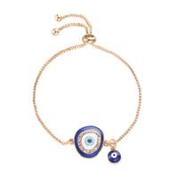 ingrosso colore wristband regolabile-Braccialetti di colore oro Evil Eye Slide Catene di metallo Braccialetti per le donne Fascino di cristallo regolabile Wristband Accessori per gioielli a mano