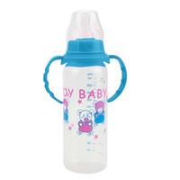 süt şişesi kapakları toptan satış-Standart Ağız Bebek Bebek Çocuk Otomatik Pipet Saman Emzik Meme Süt Besleme Şişe / kaymaz Kolu Fincan Kapak 250 ml