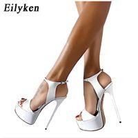 Wholesale sandal 17cm - Eilyken Women Sandals Gladiator Party Ankle Strap Patent Leather Concise Ultra Very High heel Pumps 17CM Fetish Sandals shoes