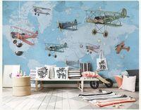 malerei babyzimmer großhandel-Hand-Malerei Vintage Flugzeug Karte 3D Wand Foto Cartoon Wandbild Tapete für Baby Kinderzimmer Große 3D Wandbild Papel