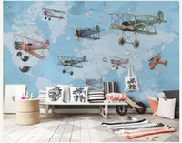 mapa murales de pared al por mayor-Mano-pintura Vintage Airplane Map 3d Wall Photo Cartoon Mural Wallpaper para Baby Kid Room Large 3d Mural de pared Papel