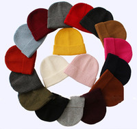 Wholesale elastic beanie hat resale online - New Colors Flanging Cap Winter Warm Hats Unisex Knitting Women Men Wool Fluorescence Color Tabby Solid Elastic Beanie