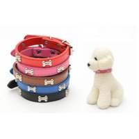 Wholesale leather dog collars wholesale online - Dog Bone PU Leather Collar Adjustable Puppy Cat Strap Collars Cute Neck Ring Pet Supplies Pure Color Fashion ml3 bb