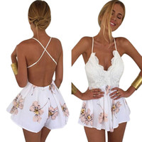 d1789f1db2a 2017 Rompers Woman Playsuit Sexy Backless V-neck Floral Print Crochet Lace  Jumpsuit Overalls for women high quality playsuit  4