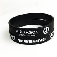 ingrosso bracciali logo-Vendita calda in azione 2018 moda kpop braccialetto gioielli idolo BigBang logo silicone wristband per i fan regali