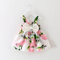 Wholesale korean chiffon mini dress - 2018 Baby Girl Dress Children's Summer New Pattern Korean Fashion Printing Big Bow Camisole Sling Dresses