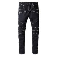 basit demir toptan satış-Balmain Punk Yaz Düz Moda siyah Diz Boyu Kot Erkekler Kadınlar Pamuk demir Basit Eğilim Denim