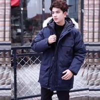 ceket furring erkekler toptan satış-Kanada Sıcak Manteau Kürk Kapşonlu Kalın Kış Erkekler Kaz tüyü Ceket için Kanada Erkek Chaquetas Palto Adam Dış Giyim Parka