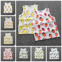 Wholesale Toddler T Shirt Vest - Kids toddler boys girls tank vest tops fruit watermelon pineapple printing kids baby T shirt summer sleeveless shirts KKA4053