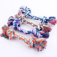 brinquedos de corda de algodão para cães venda por atacado-17 CM Dog Toys Pet Suprimentos Pet Dog Puppy Cotton Chews Nó Brinquedo Durável Trançado Corda Do Osso Ferramenta Engraçada B