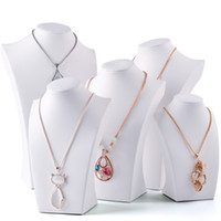 Wholesale counter display stands resale online - White Faux Leather Necklace Bust Tall Jewelry Chain Display Stand Neck Form for Boutique Shop Window Shelf Exhibition Counter Top Displays