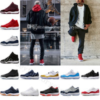 schwarze lackleder basketballschuhe groihandel-Mit Box 11 Mens Basketballschuhe 2018 Space Jam 45 Gym Red Lackleder + Nylon Black Concord 11s Frauen Trainer Midnight Navy US 5.5-13