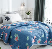 Wholesale floral bedding queen - Garden Floral Bed Quilt Bedspread Flower Print Summer Quilts Cartoon Blanket Quilts Kid Gift Home Decoration