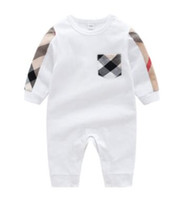Wholesale free baby clothes for sale - Brand New Children Clothing Baby Boy Spring Autumn Long Sleeve Plaid Jumpsuits Baby Girls Rompers