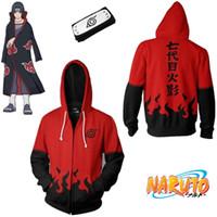 ingrosso fasce asiatiche-Asian Size Japan Anime Naruto Akatsuki 7th Halloween 3D Red Zipper Costume Cosplay Unisex manica lunga cappotto con cappuccio fascia