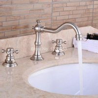 Wholesale Deck Mounted Tub - Deck Mounted 3 Holes Bath Tub Mixer Tap Brushed Nickel Widespread Dual Cross Handles bathroom basin Faucet anf028