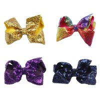 cintas de arcos para niñas al por mayor-Brillo bordado Tie horquilla Girl Ribbon Bows Hair Clip Diademas Accesorios