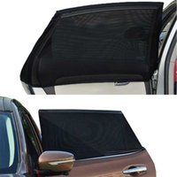 Wholesale rear protection - 2 Piece Black Car Rear Side Window Sun Visor Shade Mesh Fabric Car Sunshade Curtain Auto Sun Shade Cover Shield UV Protection