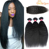 Wholesale coarse straight hair online - Peruvian Kinky Straight Human Hair Weaves With Top Closure Natural Color Coarse Yaki Human Virgin Hair Extensions With Lace Closure