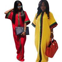 vestido longo do pescoço do tubo venda por atacado-Vestido de outono das senhoras da moda sexy o pescoço gola tubo top dress plus size vermelho e amarelo fita costura solto longo dress nb-154