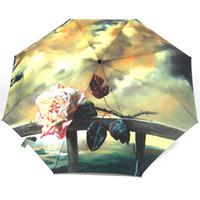 Wholesale vivid paintings - Brand Folding Sunny Rainy Vivid Rose Eiffel Oil Painting Pattern Women Female Men Full Automatic Parasol Umbrella Top Quality