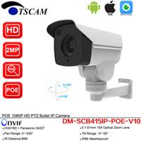 cámaras de zoom de inclinación panorámica al aire libre al por mayor-Nuevo DM-SCB415IP-POE-V10 HD 1080P 2.0MP CCTV al aire libre Bullet Cámara IP 10X Zoom óptico IR MINI PTZ Cámara de seguridad P2P con POE